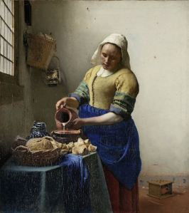 Johannes Vermeer, The Milkmaid,c. 1660, oil on canvas, h 45.5cm × w 41cm (Rijksmuseum)