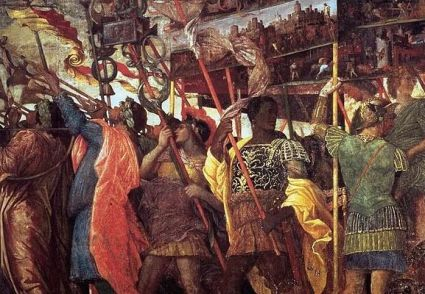 Andrea Mantegna, The Triumphs of Caesar: Trumpeters and Standard-Bearer, after 1486, Hampton Court Palace