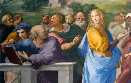 Raphael, Disputa, fresco, 1509-1511 (Stanza della Segnatura, Papal Palace, Vatican)