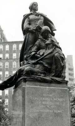 Joseph Maxwell Miller, Confederate Women's Monument, 1915-17, bronze sculpture on red granite base (Smithsonian American Art Museum Art Inventories Catalogue). Formerly located University Parkway & North Charles Street, Baltimore, Maryland until Aug. 15, 2017.