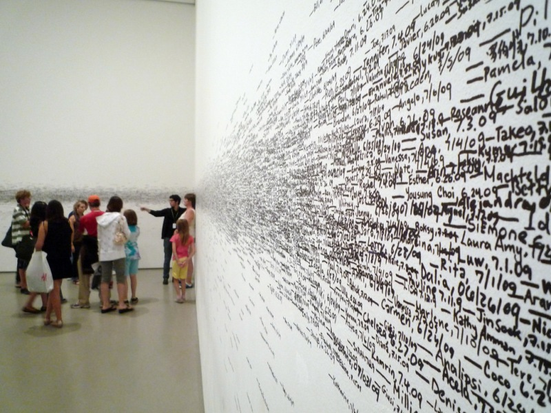 Roman Ondák, Measuring the Universe, 2007, (The Museum of Modern Art) here enacted 2009 (photo: Dr. Steven Zucker)