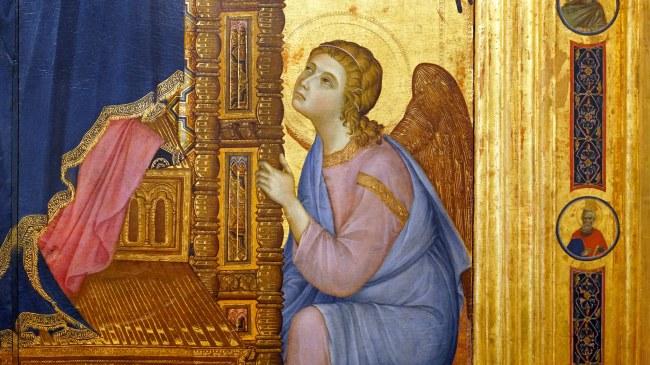 Duccio di Buoninsegna, Rucellai Madonna, 1285, tempera and gold on panel, 450 cm × 290 cm (Galleria degli Uffizi, originally, Santa Maria Novella, Florence), photo: Steven Zucker CC BY-NC-SA 2.0